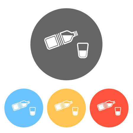 bottle of water and glass. simple single icon. Set of white icons on colored circles