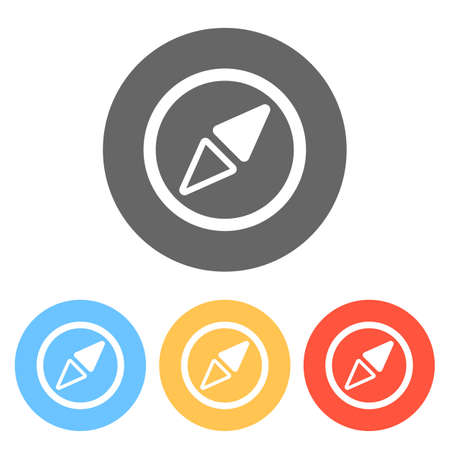 Simple compass icon. Set of white icons on colored circles