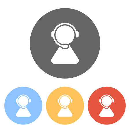 customer service. support service. simple icon. Set of white icons on colored circles Vetores