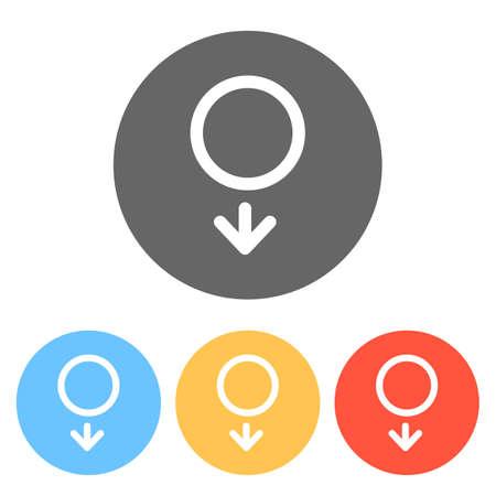 gender symbol. linear symbol. simple men icon. Set of white icons on colored circles Ilustração