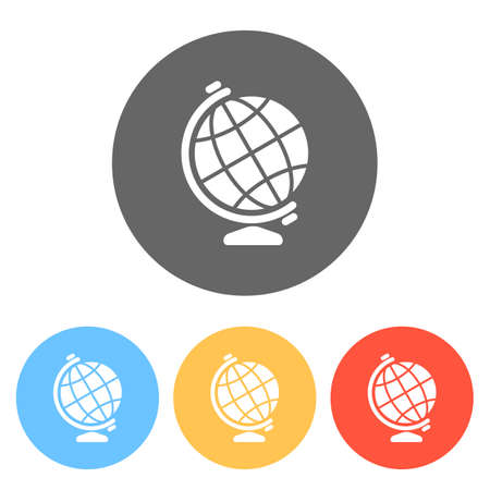 Simple globe symbol. Set of white icons on colored circles