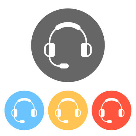 Headphones with microphone. Support service. Simple icon. Set of white icons on colored circles Ilustração