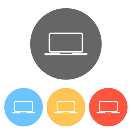 Laptop or notebook computer icon. Set of white icons on colored circles