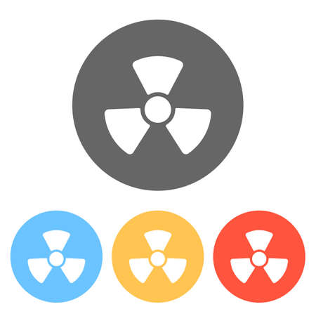 Radiation simple symbol. Radioactivity icon. Set of white icons on colored circles