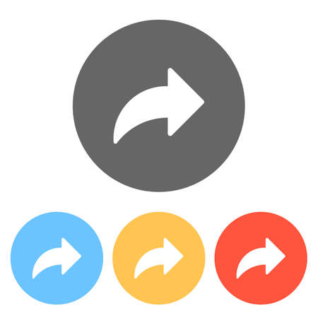 Share icon with arrow. Set of white icons on colored circles