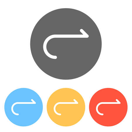 Simple arrow, forward. Navigation icon. Simple arrow, backward. Navigation icon. Linear symbol with thin line. One line style. Set of white icons on colored circles