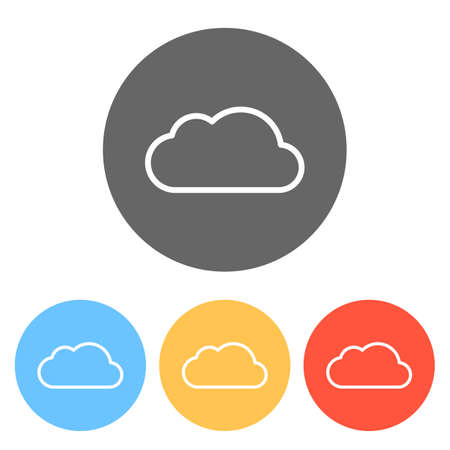 Simple cloud. Linear symbol with thin outline. Set of white icons on colored circles Vectores