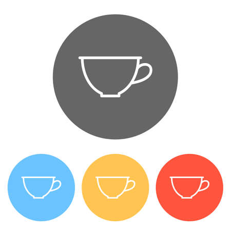 Simple cup of coffee or tea. Linear icon, thin outline. Set of white icons on colored circles