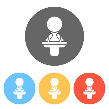 Woman speaker icon. Set of white icons on colored circles