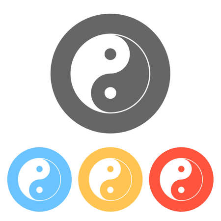 yin yan symbol. Set of white icons on colored circles
