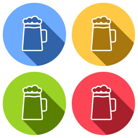 Beer glass cup. Simple linear icon with thin outline. Set of white icons with long shadow on blue, orange, green and red colored circles. Sticker style Imagens - 121822488