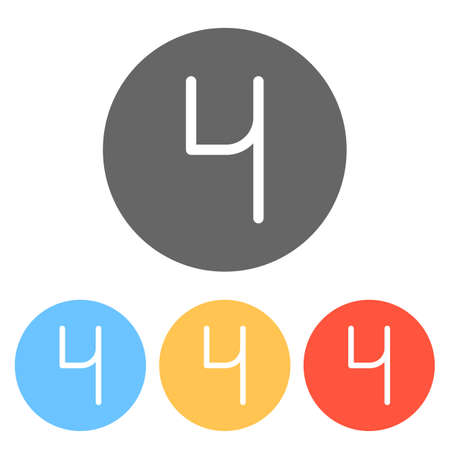 Number 4, numeral, fourth. Set of white icons on colored circles