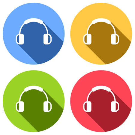 Headphones and music. Mute volume. Simple icon. Set of white icons with long shadow on blue, orange, green and red colored circles. Sticker style Ilustração