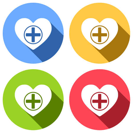 Heart and medical cross. Simple icon. Set of white icons with long shadow on blue, orange, green and red colored circles. Sticker style Ilustração