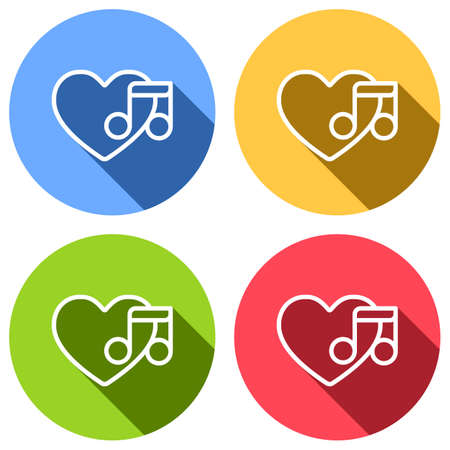 Heard and note, Favourite music. Linear icon with thin outline. Set of white icons with long shadow on blue, orange, green and red colored circles. Sticker style
