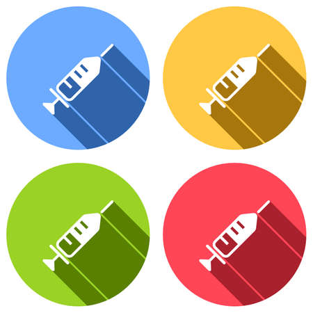 Simple injector icon. Set of white icons with long shadow on blue, orange, green and red colored circles. Sticker style
