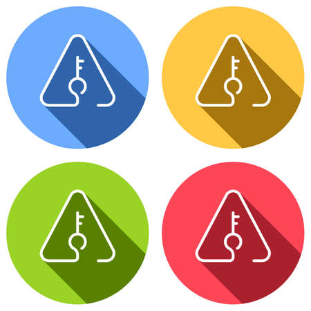 Key in warning triangle. Linear icon with thin outline. One line style. Set of white icons with long shadow on blue, orange, green and red colored circles. Sticker style Imagens - 121822491