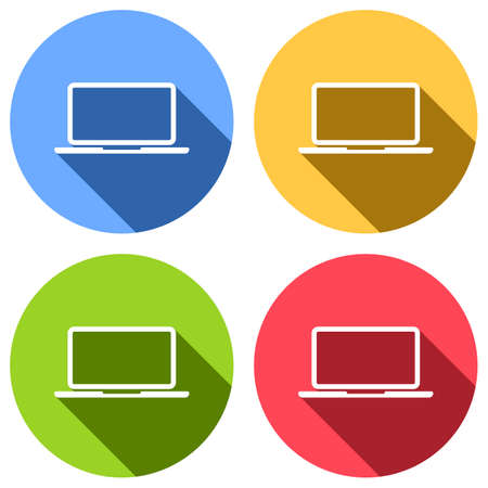 Laptop or notebook computer icon. Set of white icons with long shadow on blue, orange, green and red colored circles. Sticker style