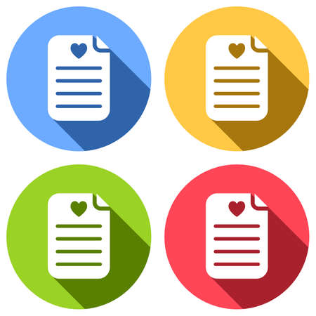 Medical history or report. Favourite text. Paper and heart. Set of white icons with long shadow on blue, orange, green and red colored circles. Sticker style Ilustração