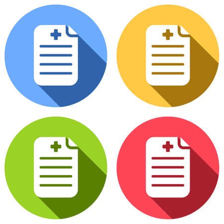 Medical history or report. Paper and medical cross. Set of white icons with long shadow on blue, orange, green and red colored circles. Sticker style Imagens - 121822494