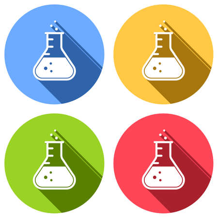 Medical test tube icon. Set of white icons with long shadow on blue, orange, green and red colored circles. Sticker style Imagens - 121822495