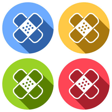 Band aid icon. Plaster sign. Couple of patches. Simple linear icon with thin outline. Set of white icons with long shadow on blue, orange, green and red colored circles. Sticker style Imagens - 121822496