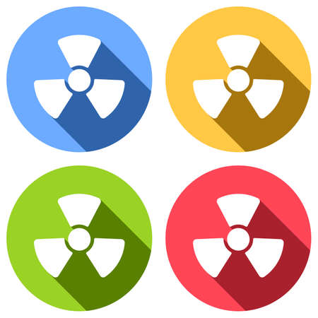 Radiation simple symbol. Radioactivity icon. Set of white icons with long shadow on blue, orange, green and red colored circles. Sticker style Illustration