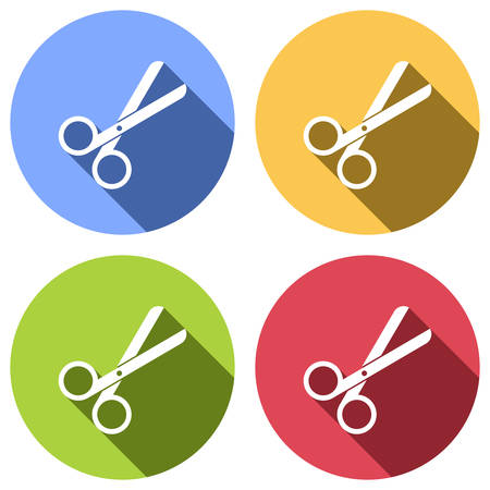 Scissors icon. Tool of barber. Set of white icons with long shadow on blue, orange, green and red colored circles. Sticker style