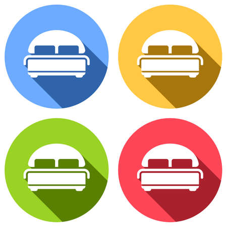 Silhouette of double bed. Double hotel room. Set of white icons with long shadow on blue, orange, green and red colored circles. Sticker style