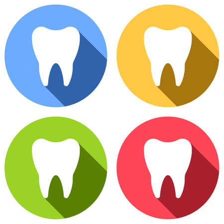 Silhouette of tooth. Simple icon. Set of white icons with long shadow on blue, orange, green and red colored circles. Sticker style Imagens - 121822499