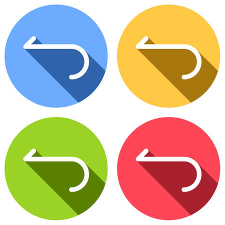 Simple arrow, backward. Navigation icon. Linear symbol with thin line. One line style. Set of white icons with long shadow on blue, orange, green and red colored circles. Sticker style