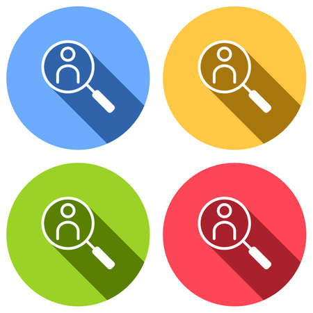 Human secource, search profile. Linear icon, thin outline. Set of white icons with long shadow on blue, orange, green and red colored circles. Sticker style Imagens - 121822501