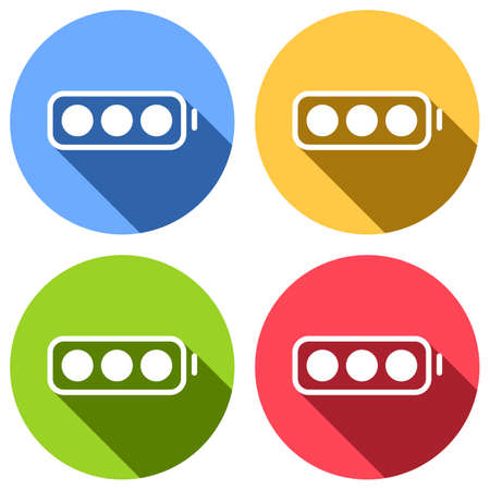 simple battery, full level. Set of white icons with long shadow on blue, orange, green and red colored circles. Sticker style Imagens - 121822502