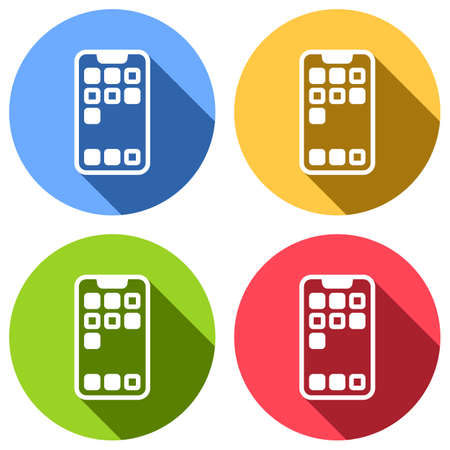 Simple mobile phone icon. Linear symbol, thin outline. Set of white icons with long shadow on blue, orange, green and red colored circles. Sticker style Imagens - 121822504