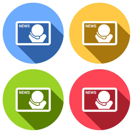 TV news with speaker. Set of white icons with long shadow on blue, orange, green and red colored circles. Sticker style Imagens - 121822509