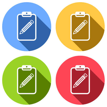 tablet, paper and pencil. Set of white icons with long shadow on blue, orange, green and red colored circles. Sticker style Imagens - 121822512