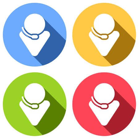 Call center, male symbol. Set of white icons with long shadow on blue, orange, green and red colored circles. Sticker style Imagens - 121822515