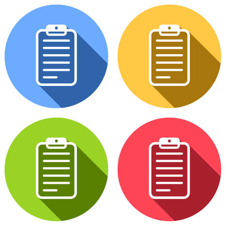tablet, paper with text. Set of white icons with long shadow on blue, orange, green and red colored circles. Sticker style Imagens - 121822517