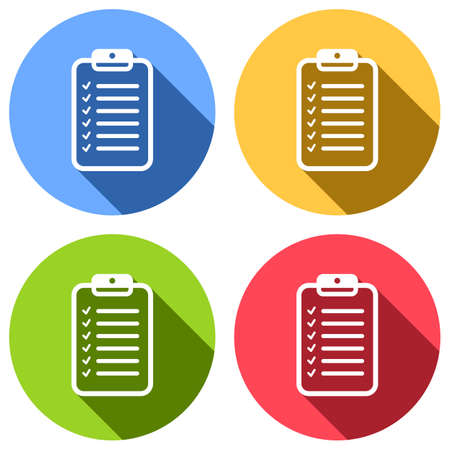 Tablet and paper, checklist with check marks. Linear, thin outline. Set of white icons with long shadow on blue, orange, green and red colored circles. Sticker style Imagens - 121822518