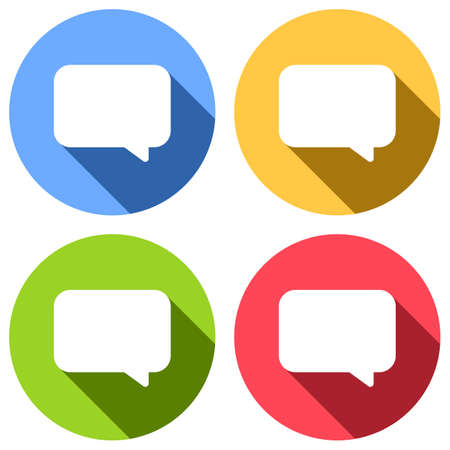 Simple text cloud. Set of white icons with long shadow on blue, orange, green and red colored circles. Sticker style Imagens - 121822519