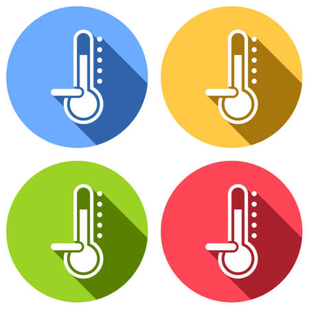 Thermometer, cold. subzero temperature. Set of white icons with long shadow on blue, orange, green and red colored circles. Sticker style