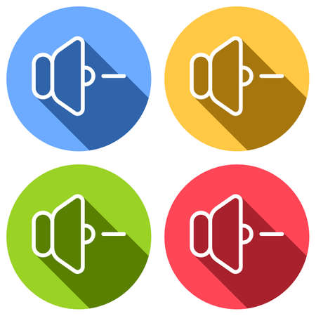 volume minus icon. Set of white icons with long shadow on blue, orange, green and red colored circles. Sticker style Imagens - 121822520
