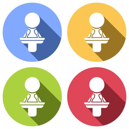 Icône de haut-parleur de femme. Ensemble d'icônes blanches à grandissime sur les cercles de couleur bleu, orange, vert et rouge. Style d'autocollant