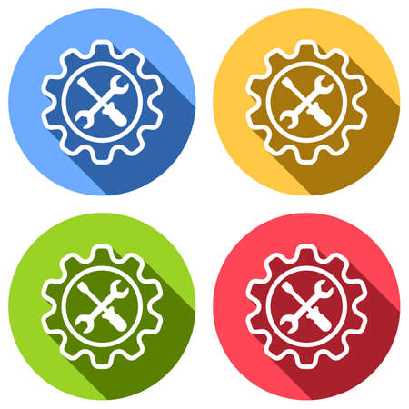Wrench and screwdriver in gear. Set of white icons with long shadow on blue, orange, green and red colored circles. Sticker style Imagens - 121822521