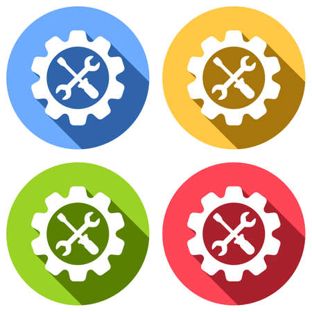 Wrench and screwdriver in gear. Set of white icons with long shadow on blue, orange, green and red colored circles. Sticker style Imagens - 121822522