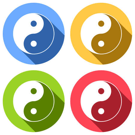 yin yan symbol. Set of white icons with long shadow on blue, orange, green and red colored circles. Sticker style Illustration