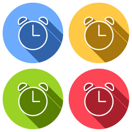 Alarm clock. Linear, thin outline. Set of white icons with long shadow on blue, orange, green and red colored circles. Sticker style Imagens - 121822523