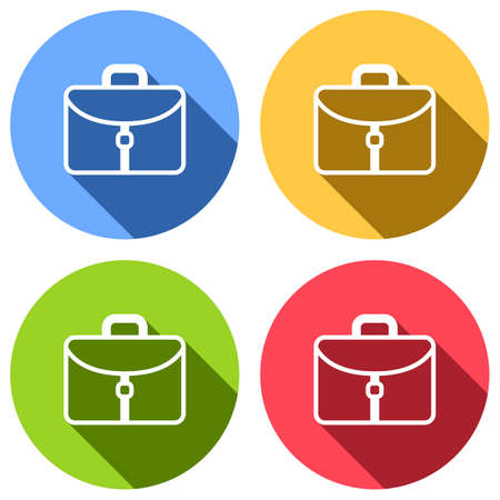 Briefcase, office bag. Set of white icons with long shadow on blue, orange, green and red colored circles. Sticker style