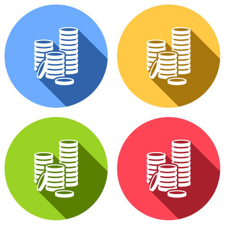 Coin stack icon. Set of white icons with long shadow on blue, orange, green and red colored circles. Sticker style Imagens - 121822524