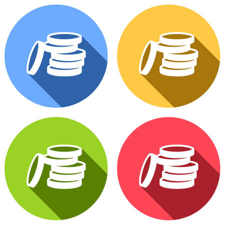 Coin stack icon. Set of white icons with long shadow on blue, orange, green and red colored circles. Sticker style Imagens - 121822525